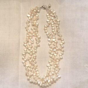 Pearl necklace triple strand w/ sterling clasp